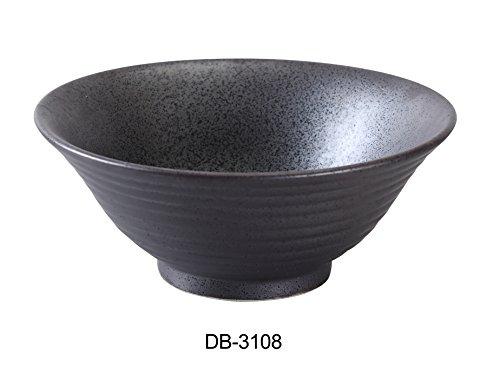 "Yanco DB-3108 Diamond Black Collection 8.5"" Ramen Bowl 45 oz, 3.5"" Height, Matte Glaze (Pack of 12)"
