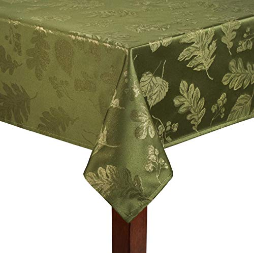 Harvest Green Fabric (Harvest Autumn Leaves Damask Tablecloth Easy Care Fabric (60 x 144 Rectangle/Oblong, Green))
