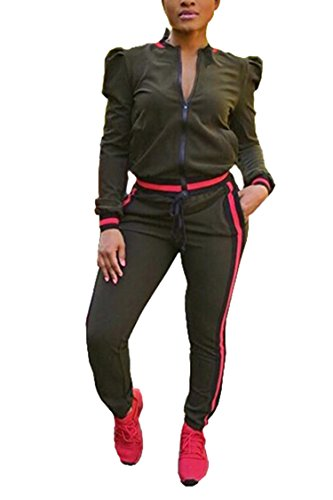 Linsery Womens Zip Up Puff Sleeve Jacket Striped Skinny Pants Pullover Tracksuit