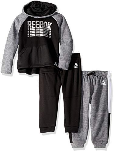 Reebok Boys' Toddler 3 Piece Spun Poly Fleece Hoody Pullover and Jog Pants, Medium Heather Grey 4T ()