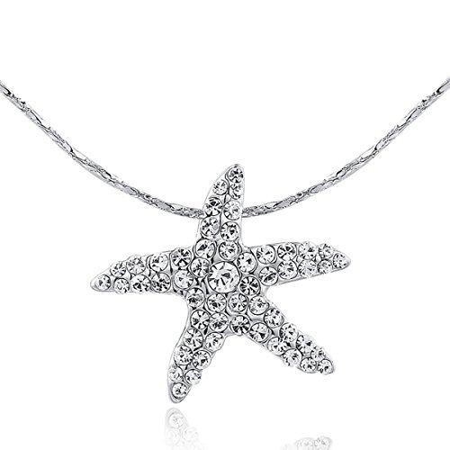 Swarovski Crystal Starfish Necklace (AROUND 101 Swarovski Elements AAA Zircon Starfish Sea Star Austrian Crystal Necklace (Silver))