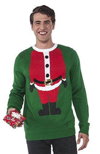 Rubie's Men's Santa Head Ugly Christmas Sweater, Multi, Medium