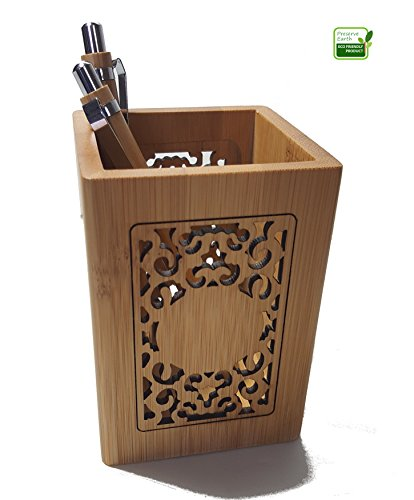 Hollow Design Bamboo Wood Pencil Holder. Pen Holder Can Be Used To Organize Utensils.