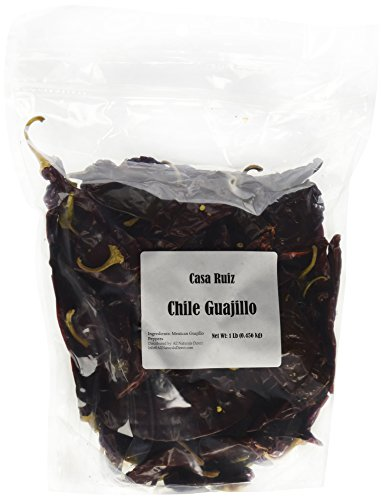 Chile Guajillo Mexican Guajillo Peppers 1 Lb Resealable Bag Casa Ruiz Brand Dried Whole Mirasol Chili Pods – Mild to Medium Heat – Sweet Spicy Tangy Fruity Pleasant Flavor Mexicano Travieso