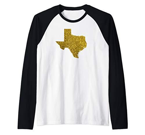 Texas map Gold Sparkle shiny bright Shirts  Raglan Baseball -