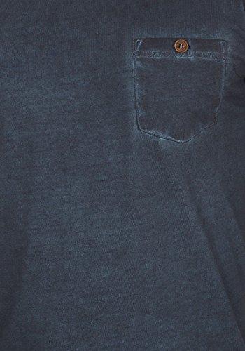 100 Insignia Terkel El Para Pecho Algodón Longsleeve Básica Bolsillo neck V Larga 1991 solid Manga Con Camiseta De Blue Hombre En FnUqUwad