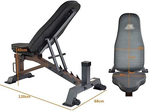 USTHOY アジャスタブル重量ベンチ折りたたみ重量ベンチプレス腹筋トレーナー長多機能トレーニングチェアホームフィットネス機器 (Color : Black, Size : 120x68x45cm)