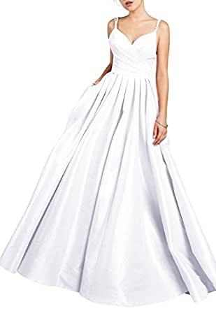 Beauty Bridal Women's V Neck Beaded Prom Dress Long Evening Party Gowns With Pockets S099 (18W,White)