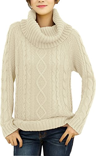 Cable Womens Sweater - v28 Women's Korean Design Turtle Cowl Neck Ribbed Cable Knit Long Sweater Jumper (S, Beige)