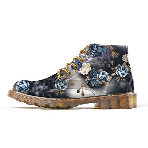 FIRST DANCE Flower Print Martin Shoes Lace-up High Top Winter Women Martin Shoes Custom Female For Ladies Boots Autumn Oxfords Boots Golden Gray (6) (Winter Oxfords)