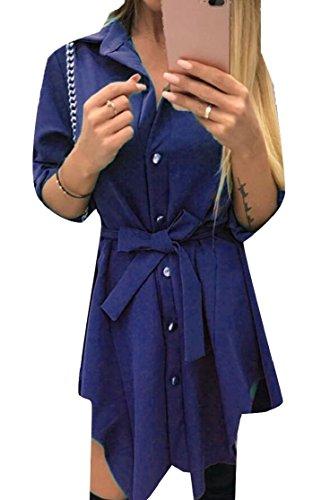 up Dress V Roll Party Neck Jaycargogo Tunic Blue Sleeves Woman Shirt FOE6On8q7