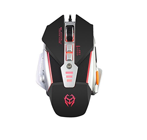 41%2BJlZ3kL0L - USB Wired Gaming Mouse, 8 Programmable Buttons, 4 Adjustable DPI Levels, XUANYI ELECTRONIC Colorful Circular Breathing LED Optical Mice, Adjustable Weight