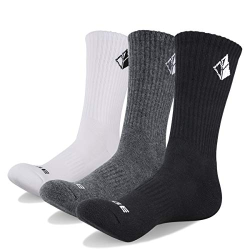 (YUEDGE 3 Pairs Cotton Cushion Crew Socks Workout Training Walking Hiking Socks Athletic Sports Socks (XL) )