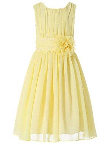 Bow Dream Little Girls Elegant Ruffle Chiffon Summer Flowers Girls Dresses Junior Bridesmaids Yellow 4