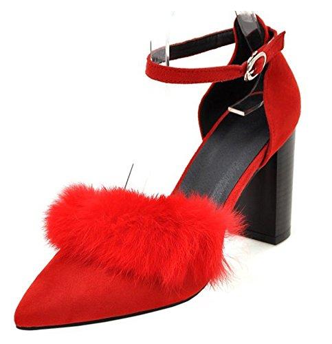 Spitz Kunstfell Blockabsatz Zehen Offene Sexy Knöchelriemchen mit Sandale Rot Schnalle Damen Aisun xwqFT0n4x