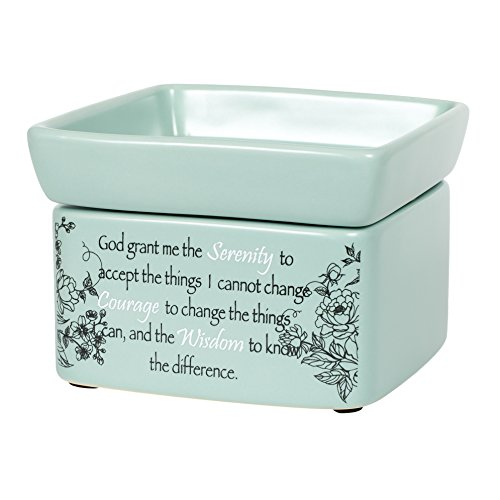 Serenity Prayer Teal White Floral Design Electric 2 in 1 Jar Candle and Wax and Oil Warmer by Elanze Designs
