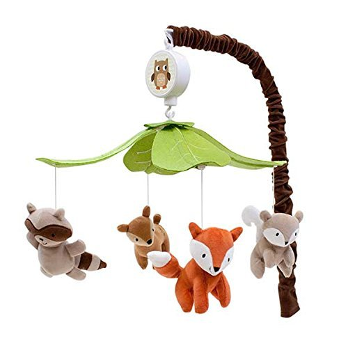 Lambs and Ivy Woodland Tales Musical Mobile, Brown