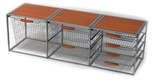 Richell 91710 Solid-Steel 2-Way 7-Drawer Storage System with Wood-Grain Top, My Pet Supplies