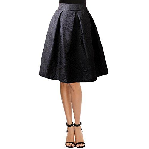 Rebecca Women Girl Floral Midi Skirts Knee Length High Waist Skirts Pleated Midi Dress (Black XL)