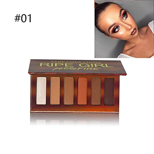 RIPE GIRL 6 Colors Eyeshadow Palette Petite Fire With Mirror Shimmer Matte Warm Color Eye Cosmetics For Daily Makeup Travel Size Eye Shadows (#01) ()
