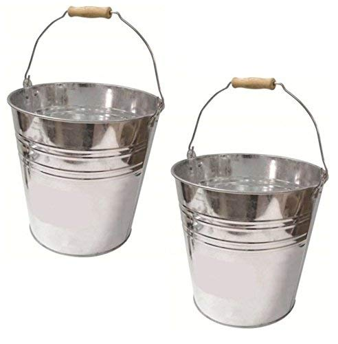 2 x 12 Litre Heavy Duty Metal Galvanised Bucket Ideal for Tools Ash Bucket Coal S&MC Homeware