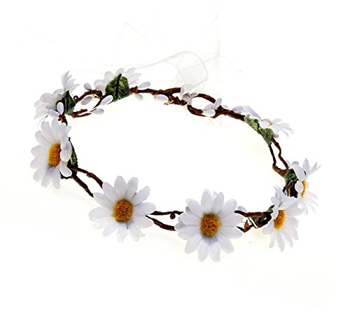 Floral Fall Sunflower Crown Hair Wreath Bridal Headpiece Festivals Hair Band (White Crown)