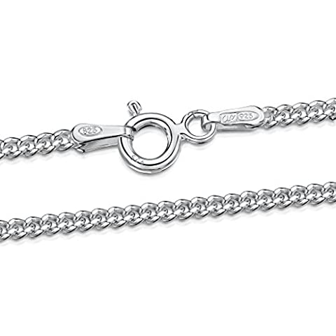 Amberta 925 Sterling Silver 2 mm Curb Chain Necklace Length 24