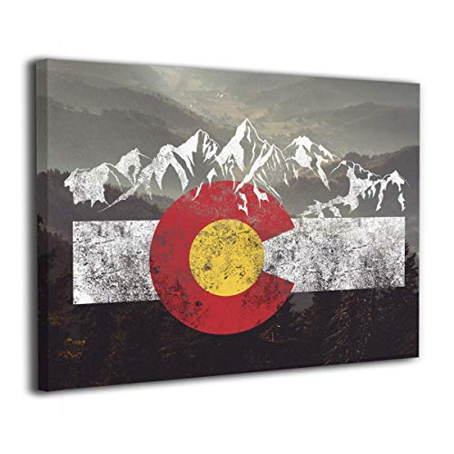 Arnold Glenn Colorado Flag Moutain Vintage Colorado Day Canvas Wall Art Prints Photo Modern Paintings Decorative Giclee Artwork Wall Decor Wood Frame Gallery Wrapped (Colorado Pictures)