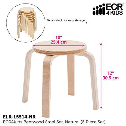 ECR4Kids Bentwood Stacking Stools for Kids, 12'' H, Natural (6-Piece Set) by ECR4Kids (Image #2)