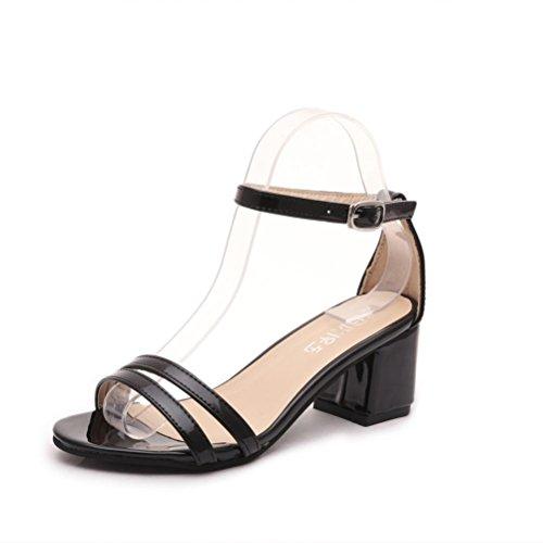 Amiley® Donna Open Toe Cinturino Alla Caviglia Con Sandali Con Tacco Nero