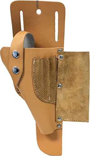 #1 Cordless Drill Genuine Top Leather-craft Holster, Tool Holder, Tan Leather with 3 suede front pockets hold drill bits, pencil, etc Fits Most T Handle Drills (Tan Shank)