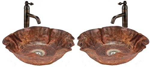Egypt gift shops Pair 17'' Copper Artistic Vessel Bathroom Fire Flame Burnt Lavatory Sink Bowl Woman Toilet Hand Wash by Egypt gift shops
