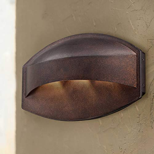 "Xane Modern Outdoor Wall Light Fixture LED Bronze 11"" Wide Eyebrow Dark Sky Design for Exterior House Porch Patio Deck - Possini Euro Design"