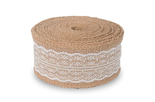 Nature House Burlap Ribbon with White Lace (2.5