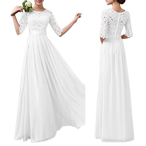Eiffel Women's Lace Splice Chiffon Floor-length Cocktail Formal Dress Bride Bridesmaid Wedding Dresses (X-Large, White)
