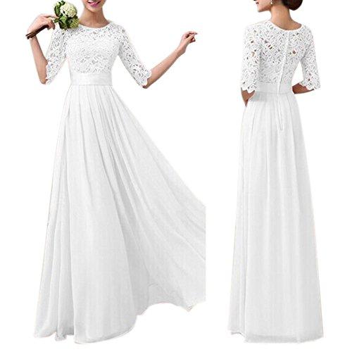 Eiffel Womens Lace Splice Chiffon Floor Length Cocktail Formal Dress Bride Bridesmaid Wedding Dresses  X Large  White