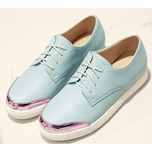 Sneakers Spring Flat de White ZHZNVX Rosa Zapatos Heel PU Blanco amp; Claro Poliuretano Azul Summer Mujer Comfort WCTzRvq