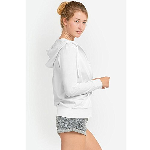 Sofra Women's Thin Cotton Zip up Hoodie Jacket (LRG,h.Grey/White) by Sofra (Image #4)
