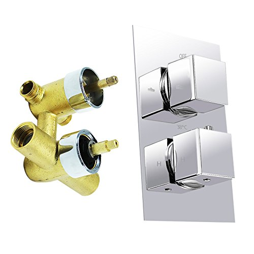 HOMEDEC Twin Thermostatic Shower Faucet Mixing Valve with Anti Scald Feature,Square Handles Chrome Finish