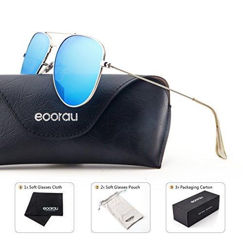 EOORAU - anteojos de sol de aviador polarizadas con efecto espejo para viajes, caravanas, pesca, anteojos de sol UV-400, Blue...