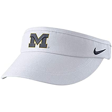 db1ae540150 Image Unavailable. Image not available for. Color  Nike White Michigan  Wolverines Sideline Dri-FIT Visor