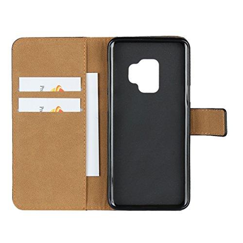 Samsung Galaxy S9móvil, cowx (piel sintética, para Samsung Galaxy S9Funda Case Cover Funda teléfono móvil–Negro