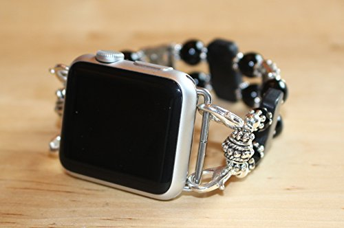 Watch Band for iWatch,Black Obsidian Watch Band for Watch,Handmade Turquoise Silver Gold Watch