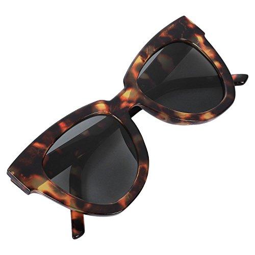 Gafas ojo las de de Leopardo Negro de TOOGOO UV400 de elegante de de S17037 gato lujo de marco mujer gradiente gris sol Lente Masculino Femenino 0IddFq