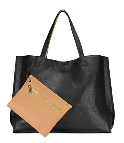 Scarleton Stylish Reversible Tote Handbag for Women, Vegan Leather Shoulder Bag, Hobo bag, Satchel Purse, Black/Natural, H18420131