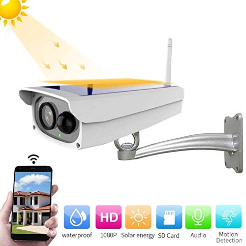 Goglor Solar Surveillance Camera Outdoor Wireless,1080P HD Night Vision Solar Powered Bullet Security Camera Wi-Fi IP for Android and iOS IPX67 Water-Proof,Weatherproof Induction for Home & Business by Goglor