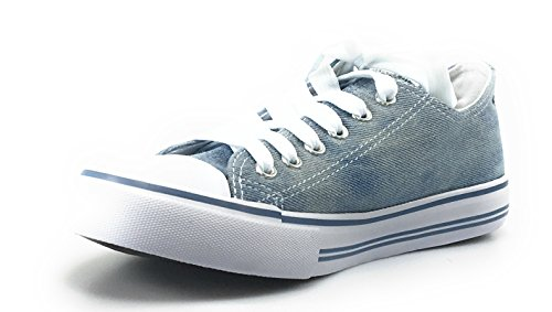 Femmes Toile Sneakers Occasionnels Retour À Lécole Élégante Toile Lacets Femmes Sneakers Denim
