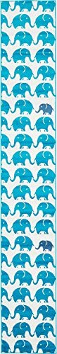 Unique Loom Metro Collection Modern Elephants Bright Colors Kids Turquoise Runner Rug 2 0 x 13 0