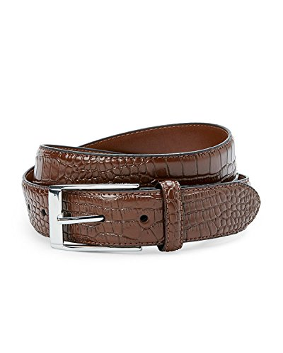 Robert Graham Mens Croc Brown Leather Chrome Buckle Dress Belt 40