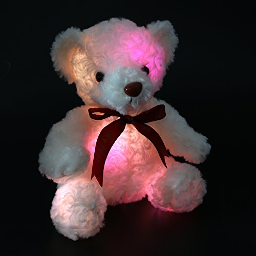 Houwsbaby Glowing Teddy Bear with Bow-tie LED Stuffed Animal Gifts for Kids Mother's Day, 10 inch (White)